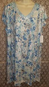 XL-1X-MISS-ELAINE-Short-Cap-Sleeve-Soft-Knit-Nightgown-Blue-White-Watercolor-NWT