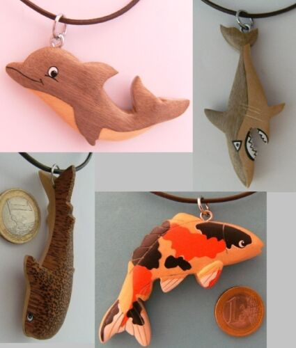 Kette Fische Holzanhänger Ketten Modeschmuck Lederband Delfine Haie Wale Fisch