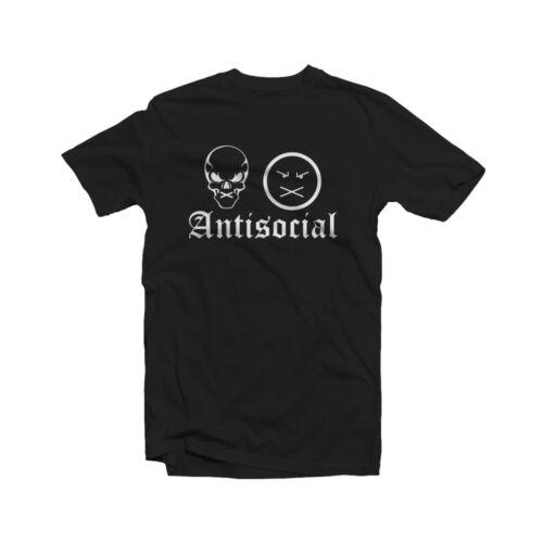 Anti Social T-Shirt Club Hipster College Party Gothic Rebel Skull Selfish Fun