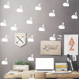 Details About Nordic Little Swan Lovely Wall Sticker Diy Decal Kids Room Family Decor