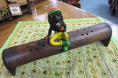 Rastafarian Natural Rustic Bamboo Incense Burner Holder w/ Lid 29 cm Long Approx