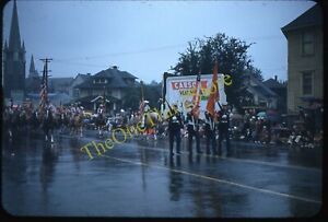 Portland Oregon Street Scene Parade 1950s 35mm Slide Red Border Kodachrome Flag