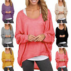 Damen lose Übergröße Oberteile Frauen Mode Tee Blusen Langarm Shirt Top Tunika