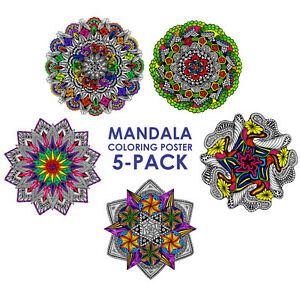 mandala coloring poster 5 pack 22x22 inch wall posters