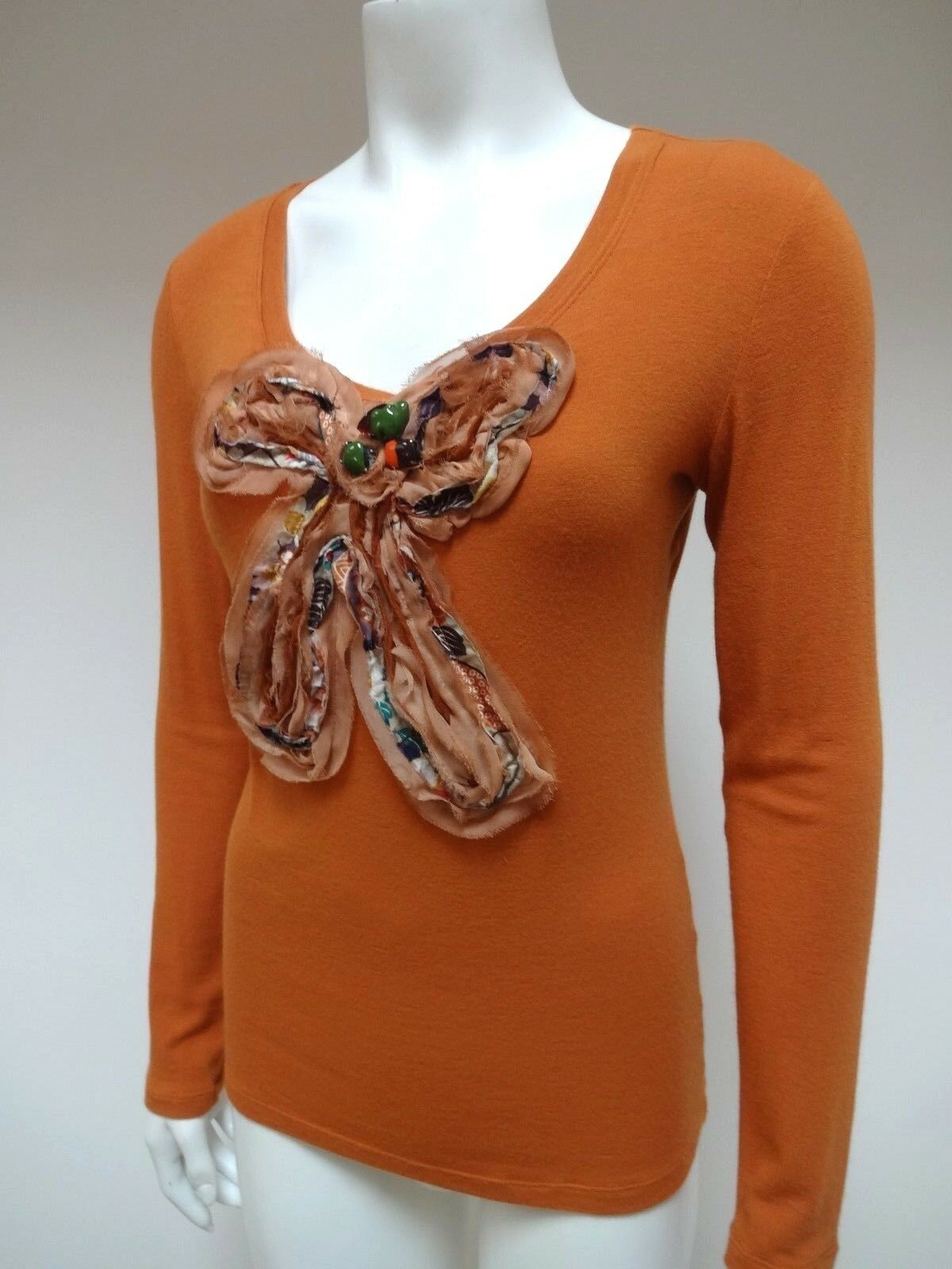 HUEVO Weiß Orange JEWELED FRONT BOW LONG SLEEVE TUNIC TOP ITALY