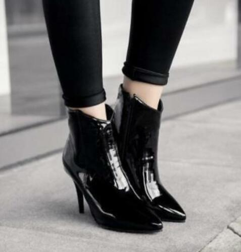 Details about  /Womens Zip Patent Leather Pointed Ankle Boots High Stilettos Heels Shoes