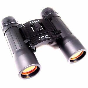 Jaeger-Fernglas-12x30-zusammenklappbar-klappbar-Feldstecher-schwarz-binoculars