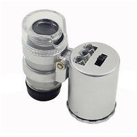 60X Jewelers Loupe Magnifier Mini Microscope Magnifying Pocket LED & UV Light