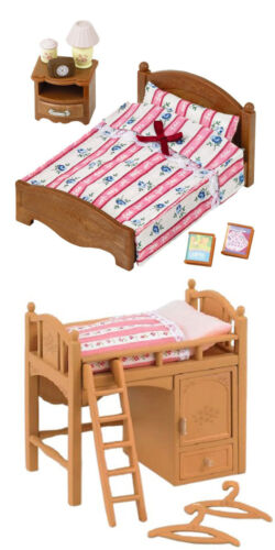 2 Beds 2 Sylvanian Families Sets Single Bunk Bed and Semi-Double Bed
