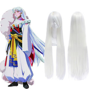 Sesshoumaru-Inuyasha-100cm-Long-Straight-White-Cosplay-Full-Wigs-Party-Hair-Wigs