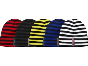 Image is loading SUPREME-Vertical-Logo-Striped-Beanie-Red-White-Royal- 6f002dc030d