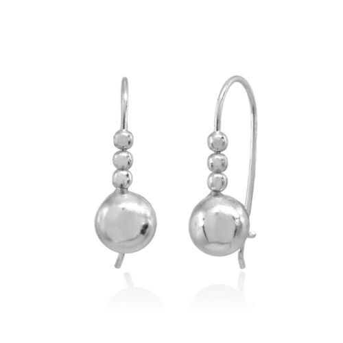 Details about  /Polished Dainty Round Beads Small Sterling Silver Drop Earrings