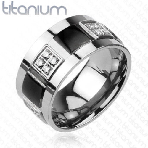 Solid Titanium 2 Tone Black CZ Gems Box Ring Band Size 9,10,11,12,13,14 f142