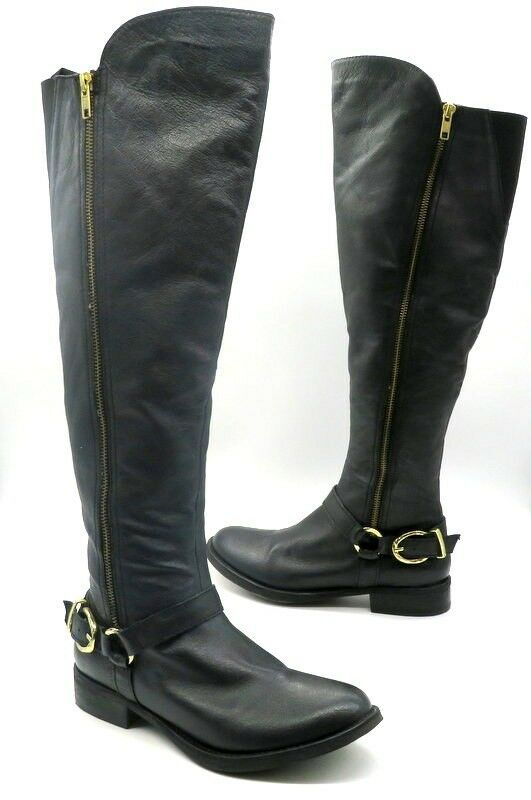 STEVE MADDEN Size 8 Black Leather gold Tone Hardware Buckle Buckle Buckle Over the Knee Boots 23e0b4