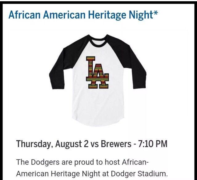 2018 LOS ANGELES Dodgers African American Heritage Night T-shirt SGA size Medium