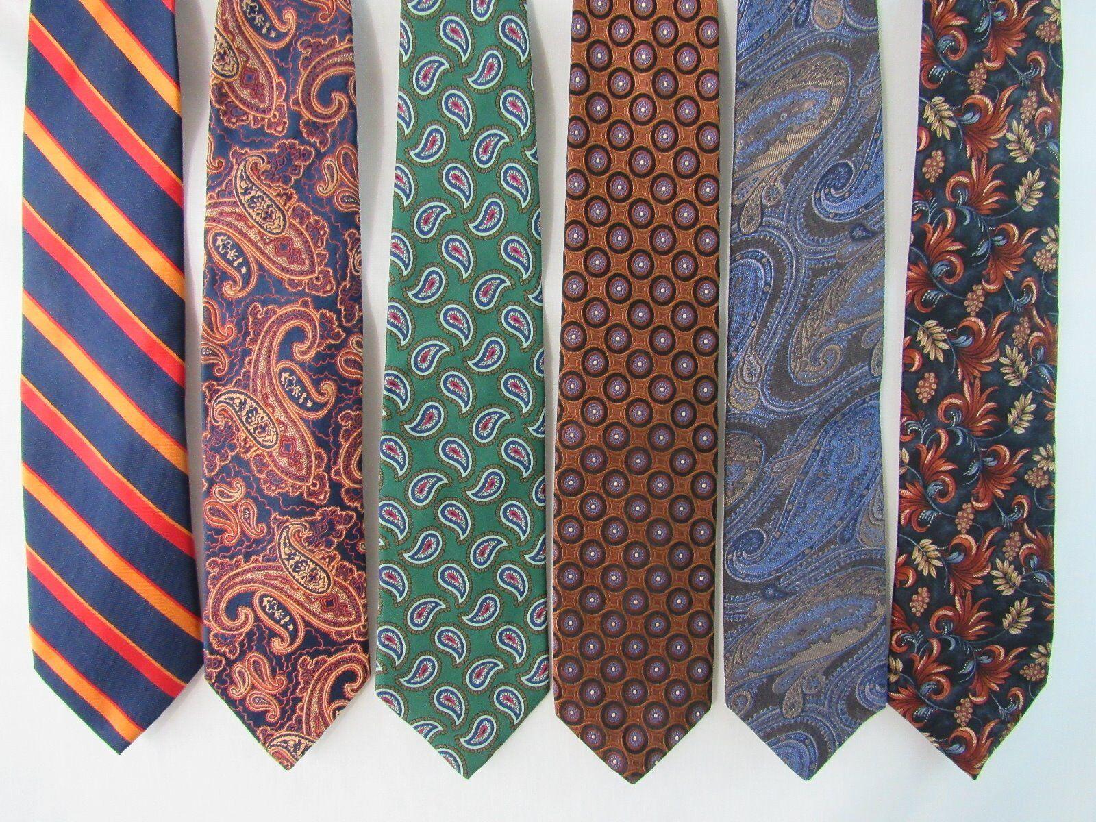 Lot of 6 Neckties Robert Talbott, XMI, Countess Mara, Brooks Brothers, Chaps
