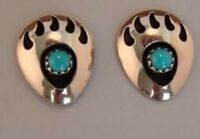 Native American Indian Jewelry Sterling Silver Turquoise Bear Paw Post Earrings