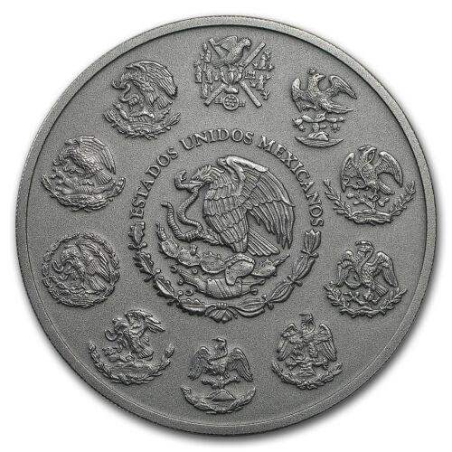 In Capsule 2018 Mexico 5 oz Silver Libertad Antiqued Finish SKU#180845