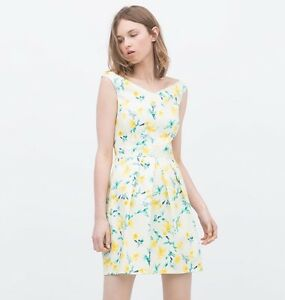 92004aac NWT ZARA FLARED V NECK DRESS WATERCOLOR FLORAL PRINT WHITE GREEN ...