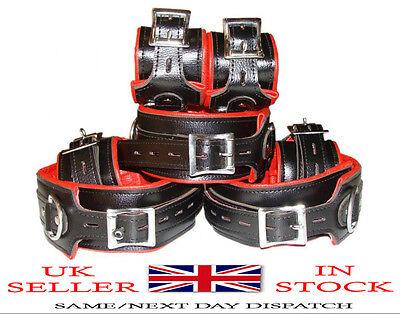 REAL Top Grain RED Black Leather Full Set of 7 Bondage Restraints In UK Stock