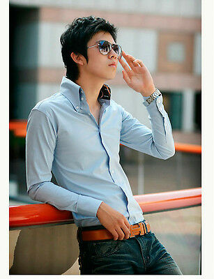 T054 Mens Luxury Casual Slim Fit Stylish Long sleeve Dress Shirts 2 Colours