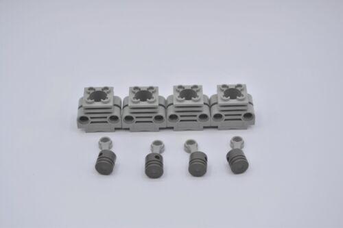 LEGO 4 x Technic Zylinder Motorblock Kolben Pleuel althell grau 2850 2851 2852