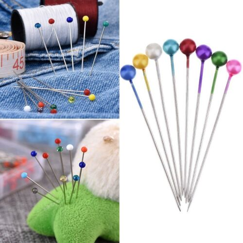 100stk Dressmaking Sewing Pin Straight Pins Round Head Color Corsage