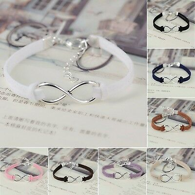 Korea Fashion Silver Plated Infinity Charm Friendship Leather Bracelet Bangle