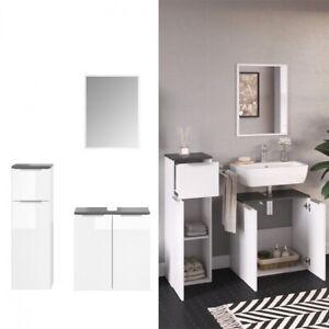 Dettagli su Set Mobili Bagno Sotto Lavabo + Specchio + Mobile Colonna Bassa  Bianco Lucido