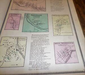 1869 MAPS BRIDGEWATER, CENTRE, CORNERS,SOUTH  WOODSTOCK TAFTSVILLE VT WINDSOR CO