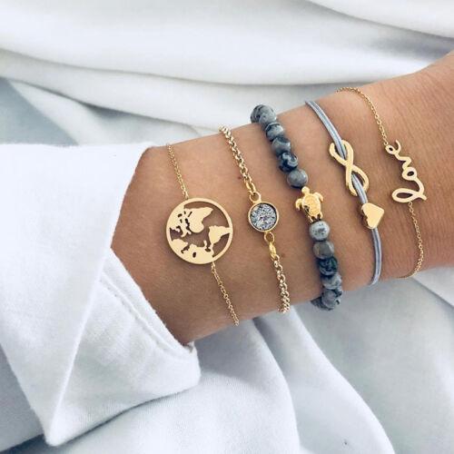 5pcs Layered Bracelet Set Turtle Infinity Heart Globe Travel Boho Bohemian JD