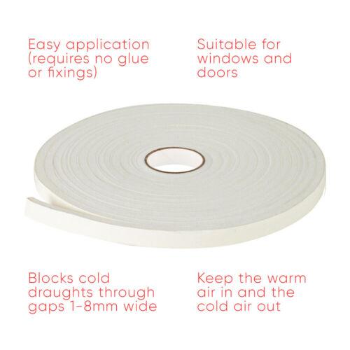 10M Foam Draught Excluder Weather Seal Strip Tape Door Window Draft Insulation