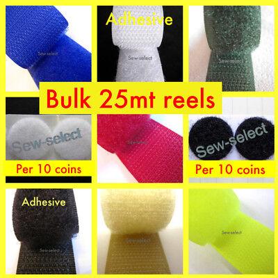 20 25mm Wide Self Adhesive Hook /& Loop Tape Strip Fastening ⋆ 4 Colours ⋆ 16