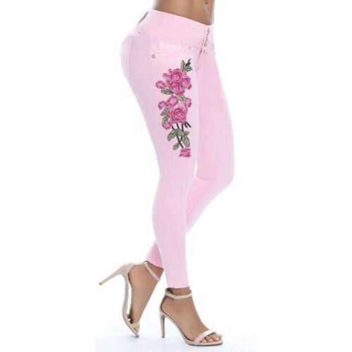 Womens Floral Embroidered Skinny Stretch Denim Pants High Waist Trousers Jeans