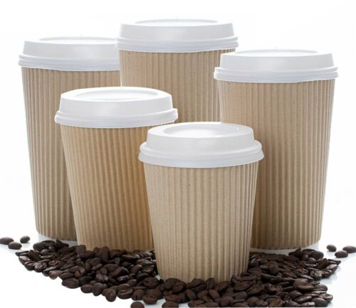 4//8//12//16//20oz Insulated Ripple Kraft Disposable Paper Coffee Cups White Sip lid
