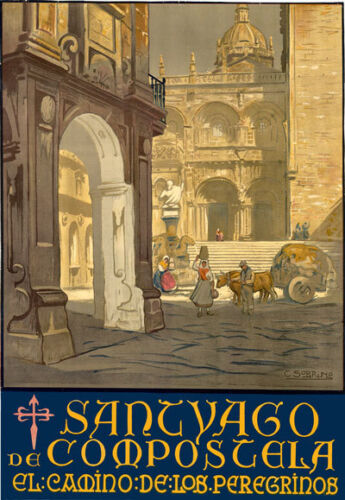 TT67 vintage Santiago de Compostela Espagne Espagnol travel poster A4