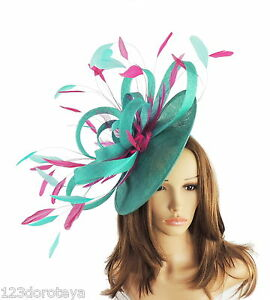 Image is loading Large-Jade-Green-amp-Fuchsia-Fascinator-for-Ascot- 396f7b6ffd0e