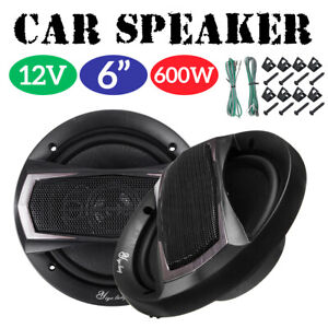 1-Pair-12V-6-Inch-600-Watt-4-Way-Car-Audio-Speaker-Coaxial-SubWoofer-Stereo-Horn