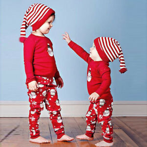 8b1fcb486ea0c 2PCS Newborn Infant Baby Girl Boy Snowman T-shirt Tops+Pants Xmas ...