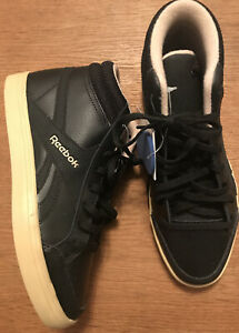 REEBOK Royal Aspire 2 Mid HIGH TOP Trainers BOOTS BLACK LEATHER UK 3.5 EUR 36