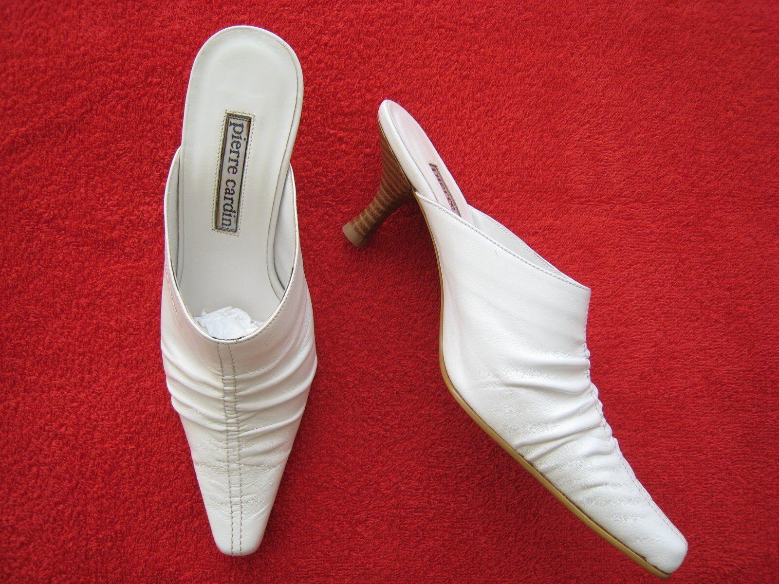 PIERRE CARDIN Damen Schuhe Pantoletten Echt Leder, Gr. 36, Weiß, NEU mit Karton