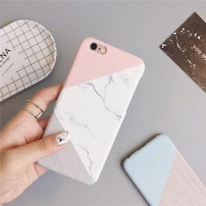 For-iPhone-6-7-7-Plus-5S-Granit-Marbre-Couleur-De-Contraste-PC-Coque-Rigide-2017