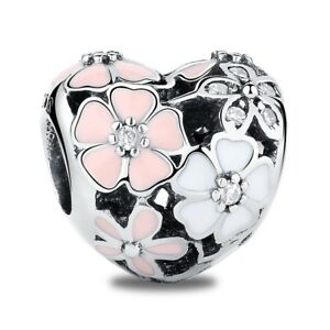 Poetic-Blooms-Heart-Charm-Bead-White-Pink-Charm-100-925-Sterling-Silver-Pandora