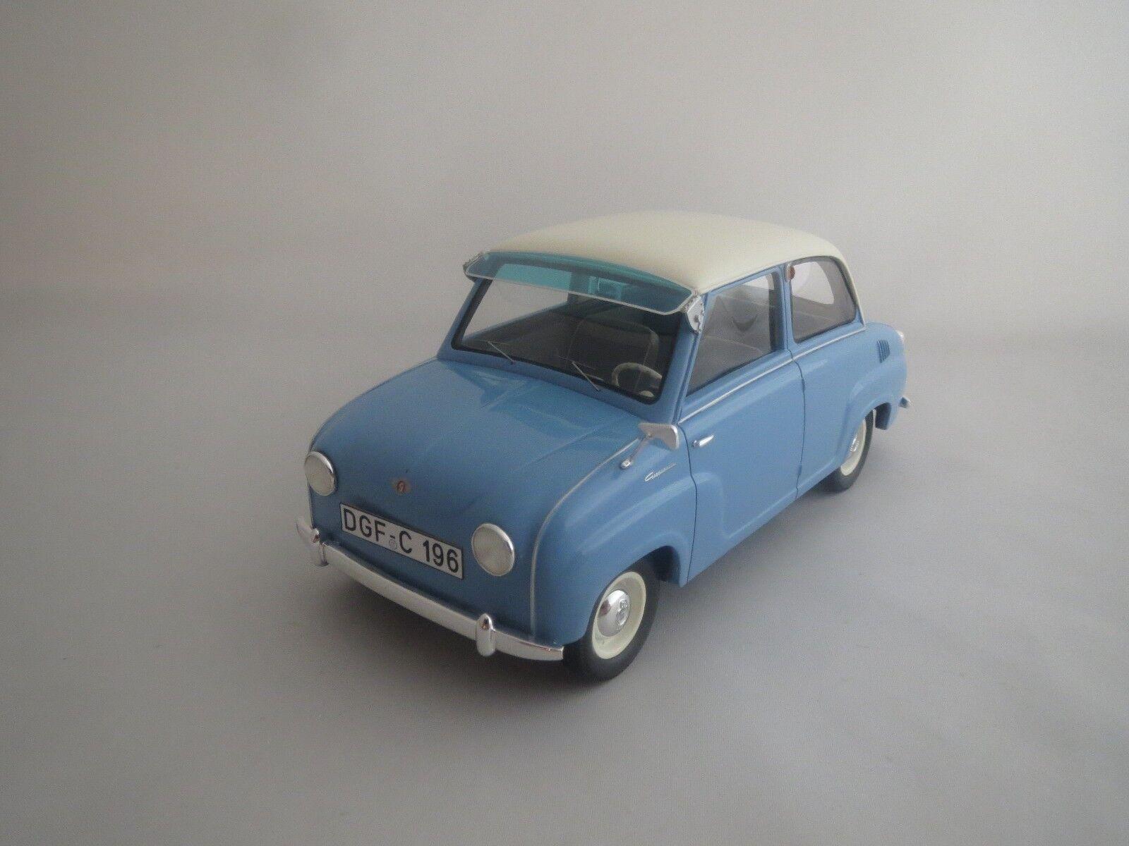 Schuco Goggomobil Limousine  azul claro-blancoo  1 18 sin embalaje
