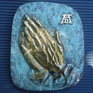 Mains-Plaque-Bronze-Dore-Murale-Belle-Patine-Signe-ATD-12-5-x10-Cm-306-Grs-Vitr