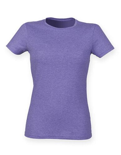 Damen Stretch T-Shirt mit rundhals Ausschnitt Skinny Fit