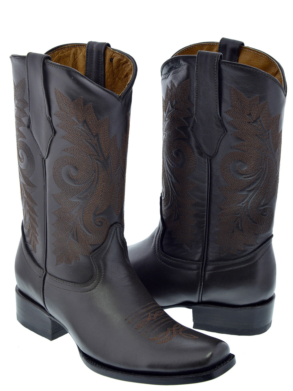 Mens Chocolate Brown Leather Dress Classic Rodeo Cowboy Western Boots