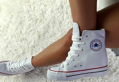 Keilabsatz Sneaker Sportschuhe Hidden Wedges StiefelettenWeiss()()+++++