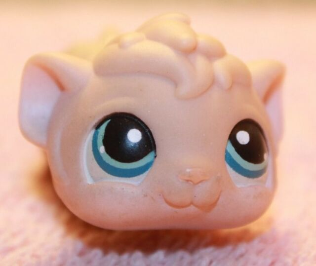 LITTLEST PET SHOP LPS #157 GUINEA PIG HAMSTER TAN BLUE EYES 2005 HASBRO TOY USED