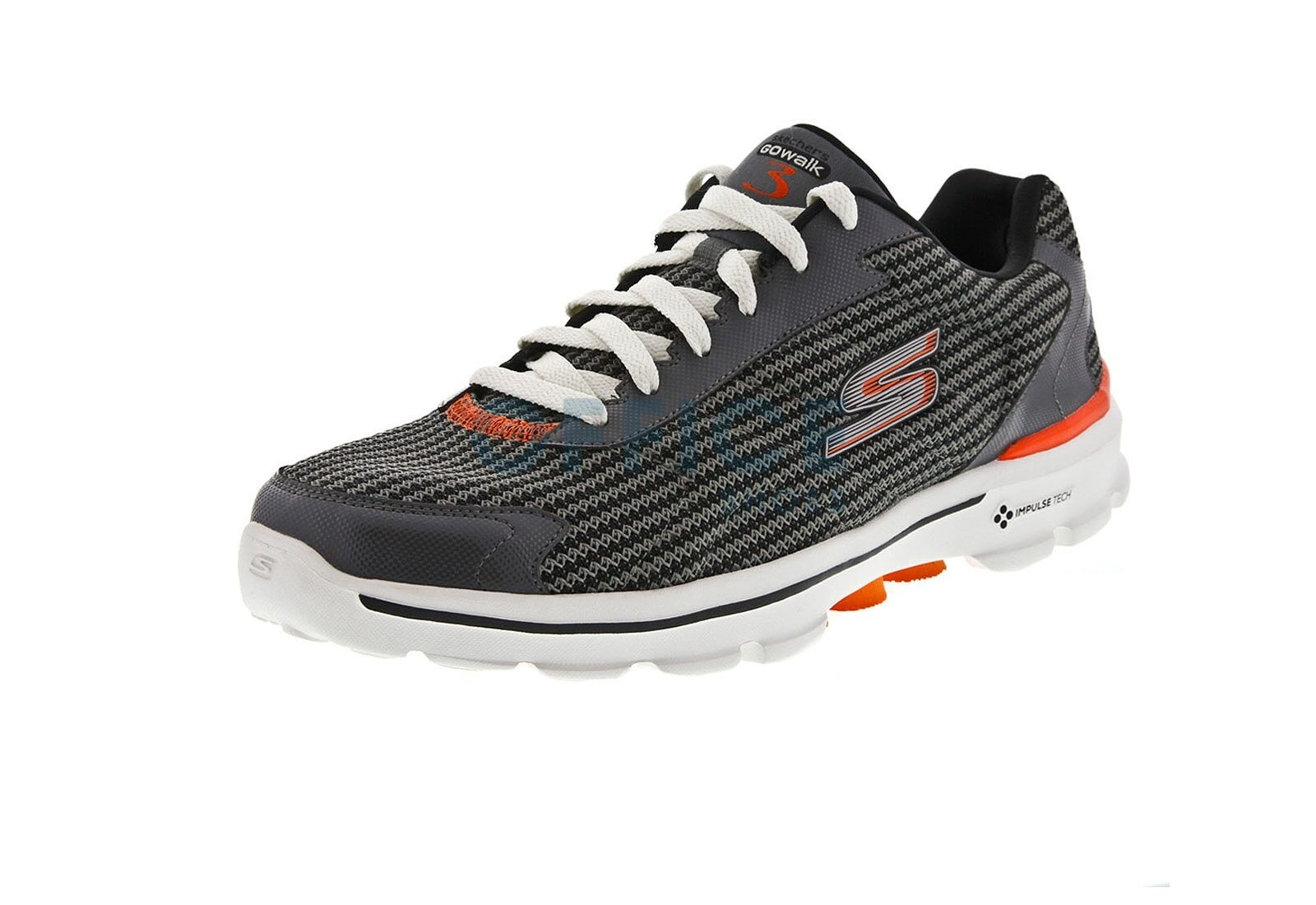 SKECHERS Mens Performance GO WALK 3 FIT KNIT Charcoal Orange Size 8.5 D
